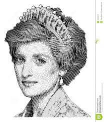 photo engraving princess diana vector engraving editorial stock photo