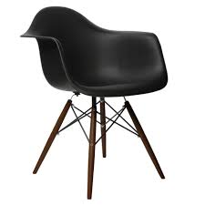 eames style daw molded in black plastic dining armchair with dark