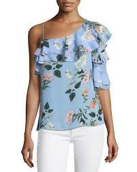 print blouses clayton one shoulder floral print blouse neiman