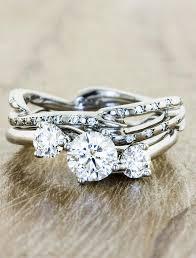 diamond stone rings images Aurora 3 stone sculptural 3 stone diamond ring ken dana design jpg