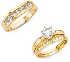 Italian Wedding Rings by 14k Solid Yellow Italian Gold Trio Wedding Band Bridal Solitaire