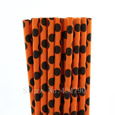 Halloween Themed Cake Pops by Aliexpress Com Buy 200pcs Black Polka Dot Orange Paper Straws