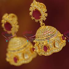 buy jhumka earrings online j5605 cz ruby screwback jhumka gold plated fancy dulhan earrings