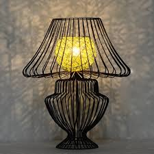 industrial desk lamp with nordic vase shade wire metal cage