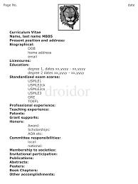 Aerobics Instructor Resume Examples Medical Doctor Curriculum Vitae Example Http Www Resumecareer