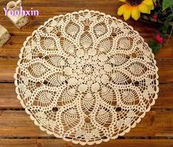 napperon de cuisine ronde dentelle coton endroit chaud tapis de table pad tissu crochet