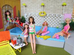1 pool party barbie doll and vintage barbie dolls pool party in the backyard of barbie s 1963 dream house this barbie pool set is