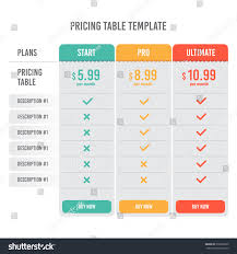 pricing table template three plan type stock vector 270663365