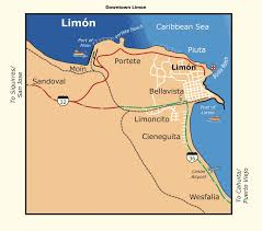 Map Of The Caribbean Detailed Limon City Map Costa Rica Map Of The Caribbean Area