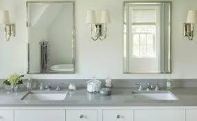 Polished Nickel Vanity Mirror White Quartz Bathroom Countertop Design Ideas
