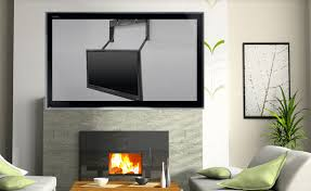 Tv Mount Over Fireplace by Mount Your Tv Over The Fireplace With The Motorized Comfortvu Arm