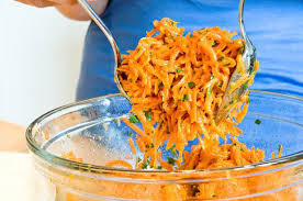 french grated carrot salad with lemon dijon vinaigrette once