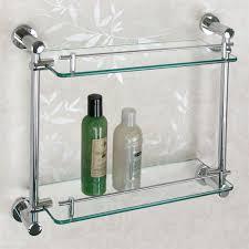 bathroom glass and chrome bathroom shelf unit with bathroom
