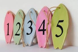 surf board table numbers wood banner decor