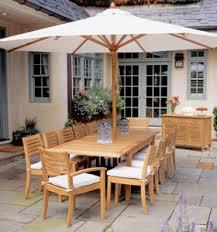 Patio Furniture Set With Umbrella Teak Garden Set Umbrella Rectangular Ext Table Stacking