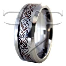 wood wedding band silver nordic viking celtic tungsten ring wood wedding band