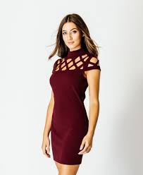wine laser cut cage bandage high neck crepe dress