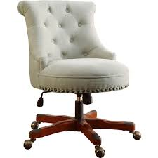 linen desk chair linon 178403nat01u sinclair office chair in tufted fabric