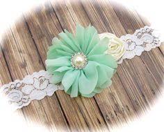 mint green headband baby headband baby gift gold headband mint green headband lace