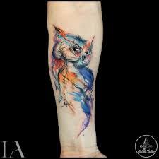 watercolor owl tattoo animal tattoo designs pinterest