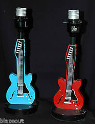 guitar lamps 2 wooden table w wood bases 12