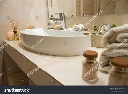 Interior Accessories Bathroom Interior Composition Spa Treatment Towels Stock Photo