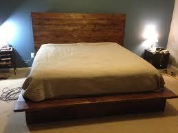 King Platform Bed Frame With Headboard Furniture Reclaimed Wood King Platform Bed Frame With