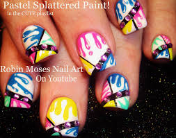 nail art pastel splatter paint nails fun color dripping nail