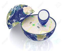 Gps Map One Earth Globe Divided Into Two Parts With A Gps Map And Pin