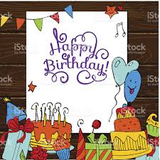 Wooden Table Background Vector Happy Birthday Card Background With Cakes On Wooden Table Stock