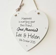 wedding gift personalised wedding heart personalised happiness just married plaque keepsake