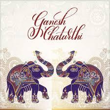 Ganesh Chaturthi Invitation Card Ganesh Chaturthi Greeting Card Design With Two Elephant Stock
