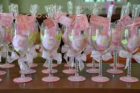 wine glass party favor wedding wine glass bridal party pretty in pink theme wine