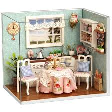 dollhouse kitchen furniture dollhouse miniature kitchen kit with furniture led light in 1 24
