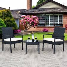 Rattan Patio Furniture Sets Deal 3 Ps Outdoor Rattan Patio Furniture Set Backyard Garden