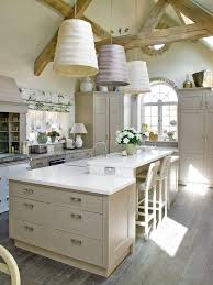 French Country Roman Shades - london kitchen island with heights farmhouse seating natural