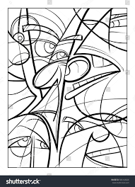cubist faces fun coloring page vector stock vector 586143626
