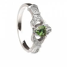 claddagh engagement ring emerald and diamond claddagh engagement ring 14k gold