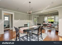 view classic dining room gray walls stock photo 474238717