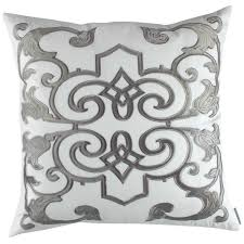 White Throw Pillows Bed Lili Alessandra Mozart White Linen U0026 Silver Velvet Bed Throw U0026 Pillows