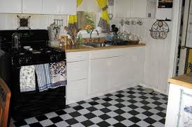 simple black and white floor tile for kitchen home