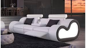 canapé simili cuir blanc canapé de salon en cuir simili 3 places blanc noir atco gdegdesign
