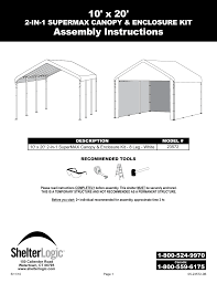 10 X 5 Canopy by Shelterlogic 23572 10 X 20 Super Max Canopy 2 In 1 Pack