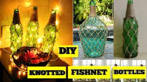 diy knotted fishnet bottles home decor youtube