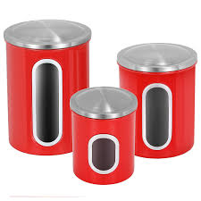 shop amazon com food bins amp canisters kitchen canisters set atecking fingerprint proof stainless steel canisters with airtight lid clear window red