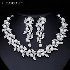 gold color necklace images Mecresh simulated pearl bridal jewelry sets silver gold color jpg