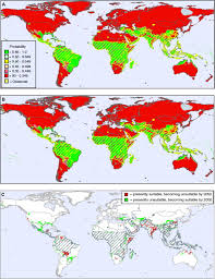 Future Map Of The World by Figure 1 The Global Spread Of Malaria In A Future Warmer World