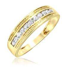 mens gold diamond rings 1 3 carat t w diamond men s wedding ring 14k yellow gold men s