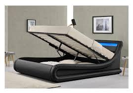 Led Bed Frame Sleep Design Madrid 5ft Kingsize Black Faux Leather Ottoman Bed