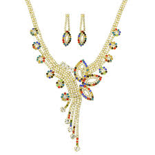 big flower necklace images 2018 wedding jewelry set jewelry gold chain with colorful jpg